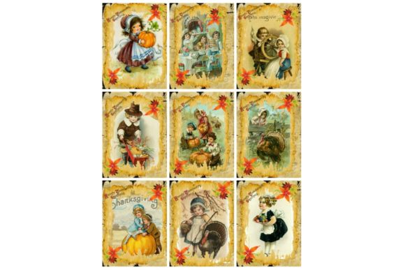Print on Demand: Printable Vintage Thanksgiving Fall Tags Graphic Illustrations By Scrapbook Attic Studio