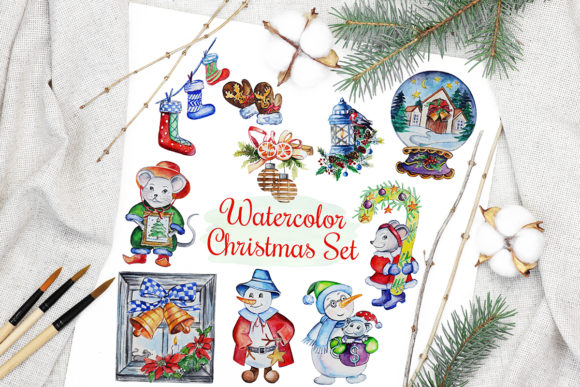 Print on Demand: Christmas Watercolor Characters Set Grafik Illustrationen von PawStudio