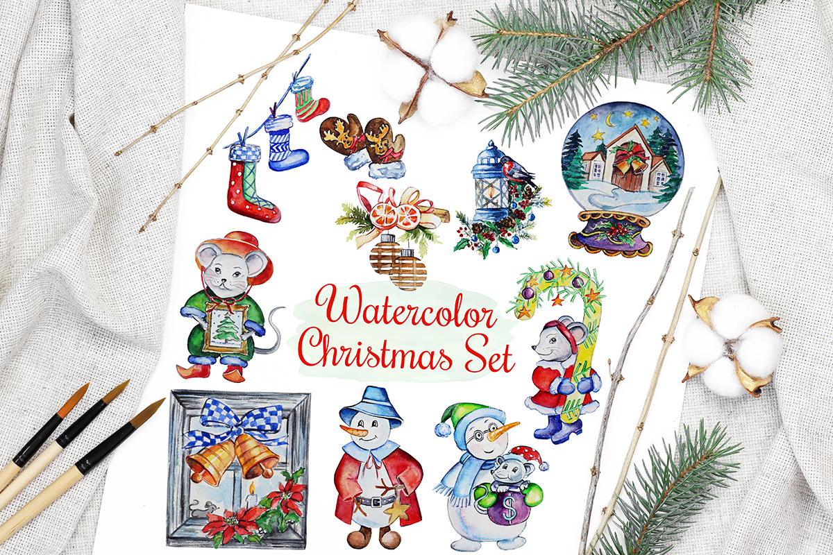 Download Free Christmas Watercolor Characters Set Graphic By Pawstudio for Cricut Explore, Silhouette and other cutting machines.