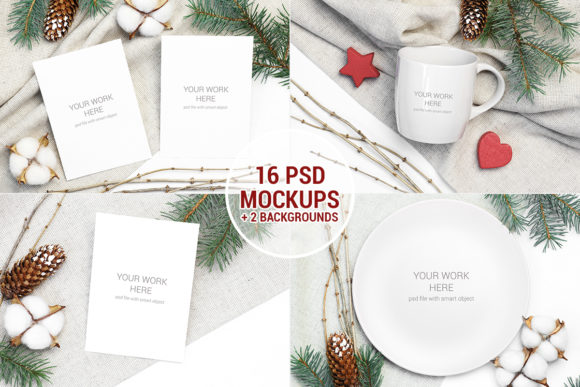 Print on Demand: Christmas Mockups Pack with Smart Object Graphic Print Templates By PawStudio