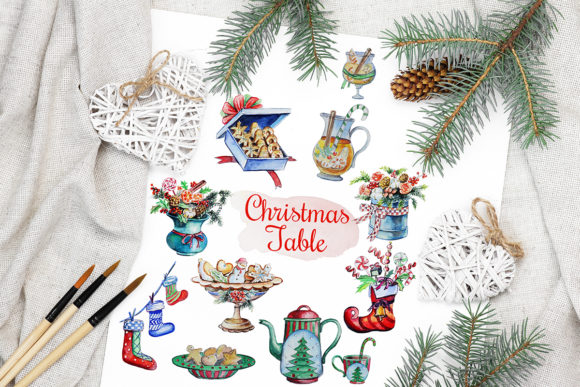 Print on Demand: Christmas Watercolor Food Decoration Graphic Illustrations By PawStudio
