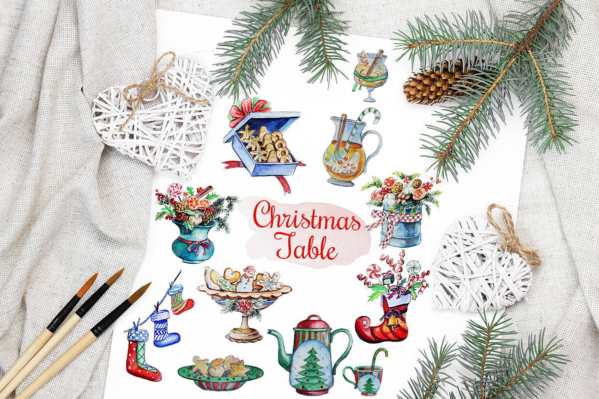 Download Free Christmas Watercolor Food Decoration Graphic By Pawstudio for Cricut Explore, Silhouette and other cutting machines.