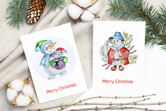 Print on Demand: Christmas Watercolor Characters Set Graphic Illustrations By PawStudio - Image 4