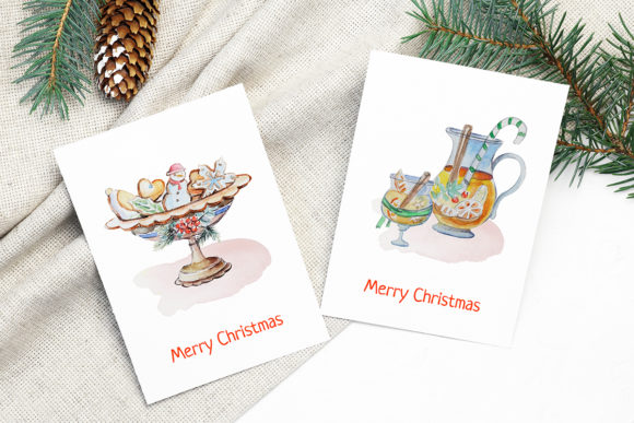 Print on Demand: Christmas Watercolor Food Decoration Graphic Illustrations By PawStudio - Image 6