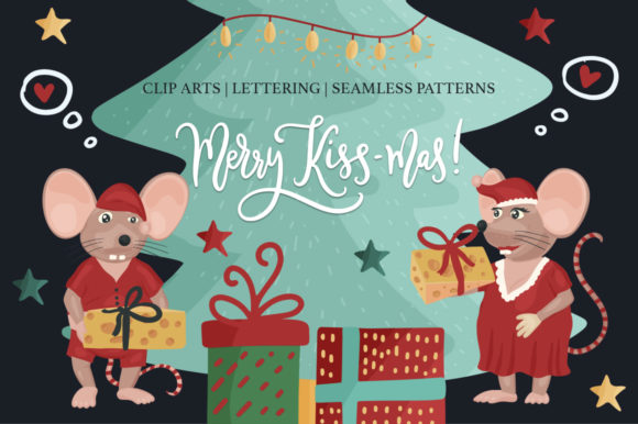 Print on Demand: Merry Kiss-Mas Christmas Set. Graphic Illustrations By billcreativestore