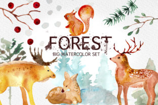 Download Free Winter Forest Watercolor Graphic Set Graphic By for Cricut Explore, Silhouette and other cutting machines.