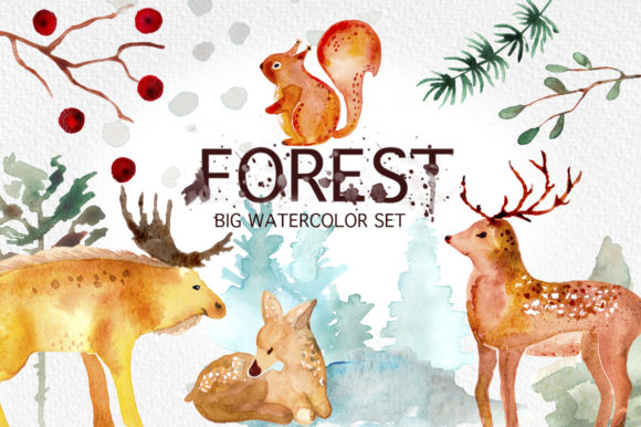 Winter Forest Watercolor Graphic Set. Gráfico Por billcreativestore