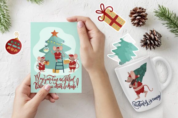 Download Free Merry Kiss Mas Christmas Set Graphic By Billcreativestore for Cricut Explore, Silhouette and other cutting machines.