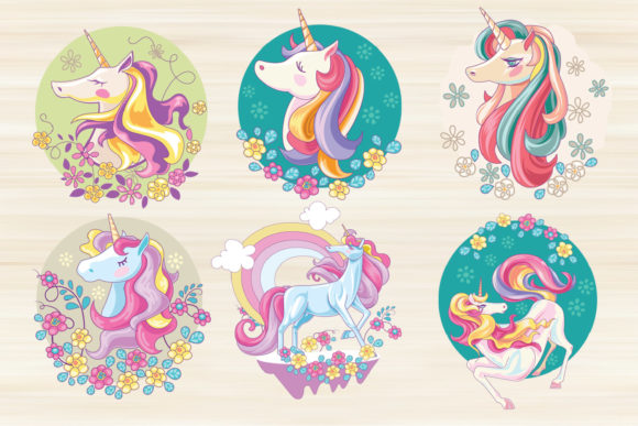 Print on Demand: Cute Unicorn Mythical Animal Bundle Graphic Illustrations By illusatrian