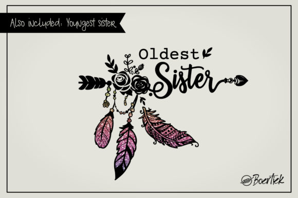 Download Free Youngest And Oldest Sister 2 Svg Files Graphic By Boertiek for Cricut Explore, Silhouette and other cutting machines.