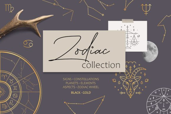 Zodiac Signs and Constellations Graphic Icons By Alisovna - Image 1