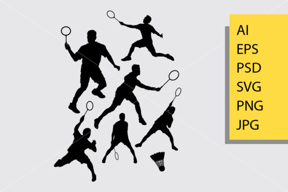 Badminton Sport 1 Silhouette Graphic Illustrations By Cove703