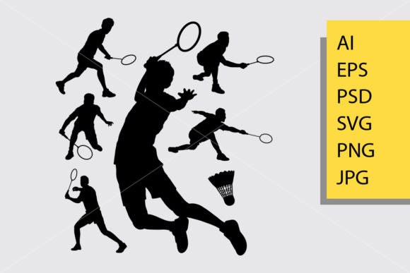 Badminton Sport 2 Silhouette Graphic Illustrations By Cove703 - Image 1