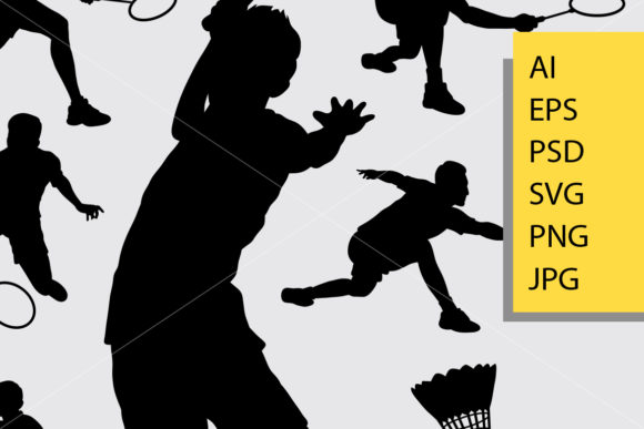 Badminton Sport 2 Silhouette Graphic Illustrations By Cove703 - Image 2