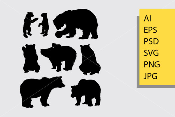 Bear Animal 1 Silhouette Graphic Illustrations By Cove703