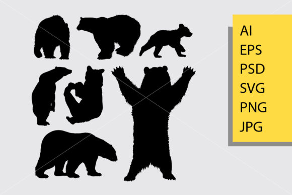 Bear Animal 2 Silhouette Graphic Illustrations By Cove703