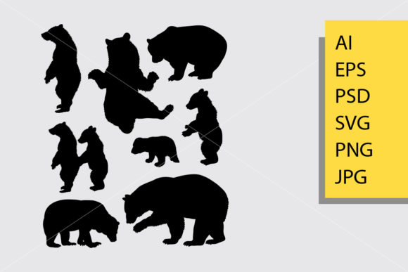 Bear Animal 3 Silhouette Graphic Illustrations By Cove703