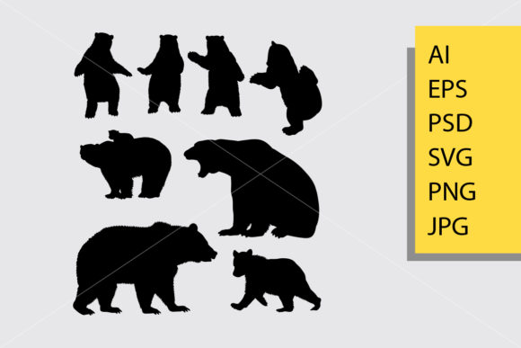 Bear Animal 4 Silhouette Graphic Illustrations By Cove703 - Image 1