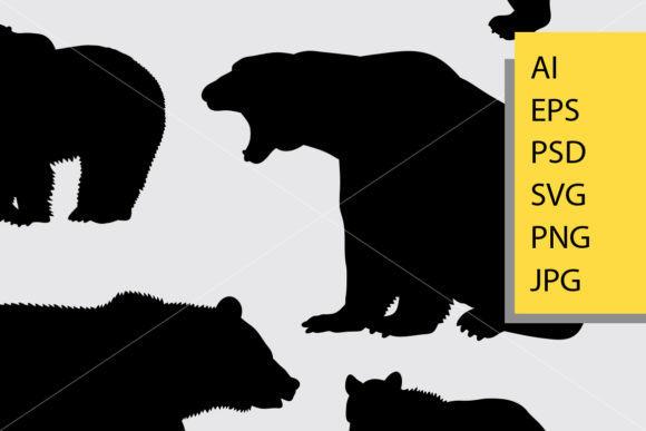Bear Animal 4 Silhouette Graphic Illustrations By Cove703 - Image 2