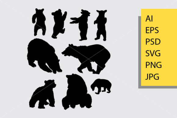 Bear Animal 5 Silhouette Graphic Illustrations By Cove703