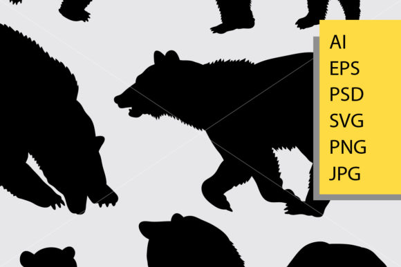 Bear Animal 5 Silhouette Graphic Illustrations By Cove703 - Image 2