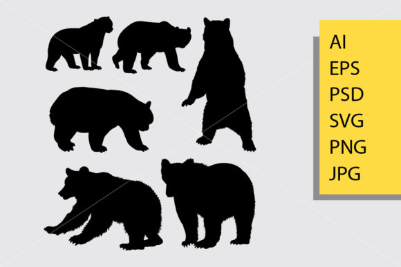 Bear Animal 6 Silhouette Graphic Illustrations By Cove703 - Image 1