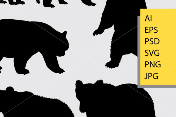 Bear Animal 6 Silhouette Graphic Illustrations By Cove703 - Image 2