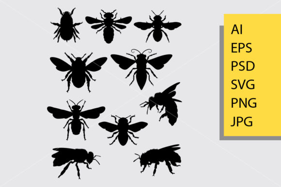 Bee Silhouette Graphic Illustrations By Cove703