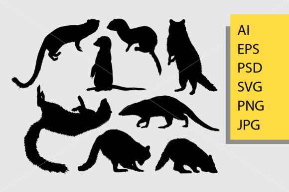 Mongoose Animal Silhouette Graphic Illustrations By Cove703
