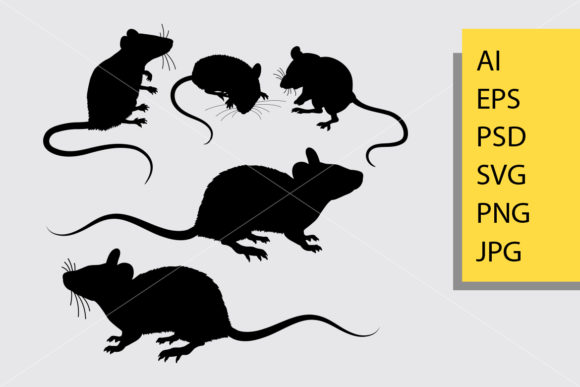 Mouse Animal Silhouette Graphic Illustrations By Cove703