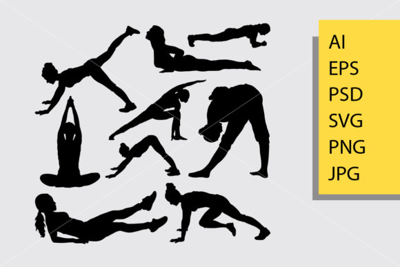 Pilates Sport 4 Silhouette Graphic Illustrations By Cove703
