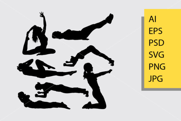 Pilates Sport 5 Silhouette Graphic Illustrations By Cove703 - Image 1