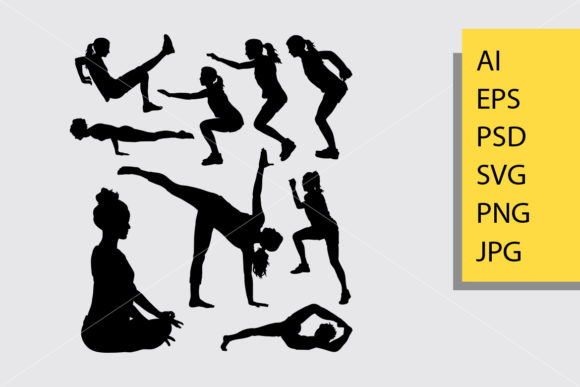 Workout 2 Sport Silhouette Graphic Illustrations By Cove703