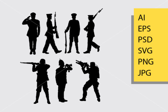 Army and Police 1 Silhouette Graphic By Cove703