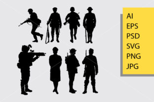Army and Police 2 Silhouette Graphic Illustrations By Cove703
