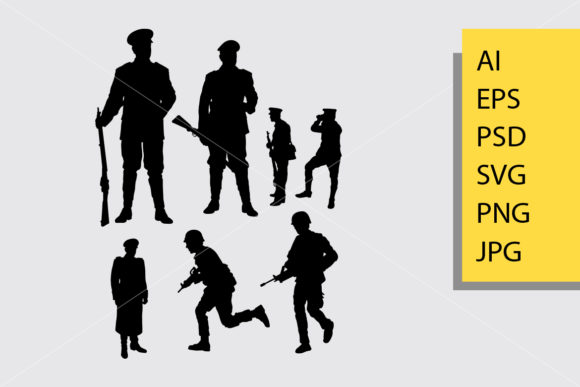 Army and Police 3 Silhouette Graphic Illustrations By Cove703