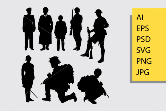 Army and Police 4 Silhouette Graphic Illustrations By Cove703