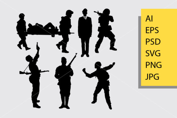 Army and Police 5 Silhouette Graphic Illustrations By Cove703