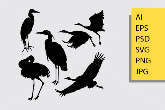 Crane Egret Bird Animal Silhouette Graphic Illustrations By Cove703