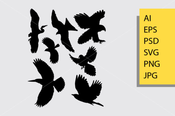 Flying Bird 1 Silhouette Graphic Illustrations By Cove703 - Image 1