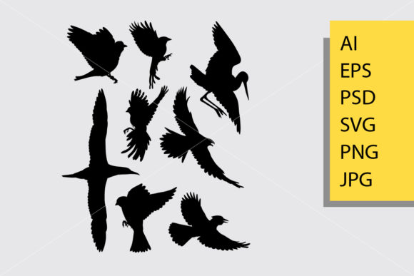 Flying Bird 2 Silhouette Graphic Illustrations By Cove703