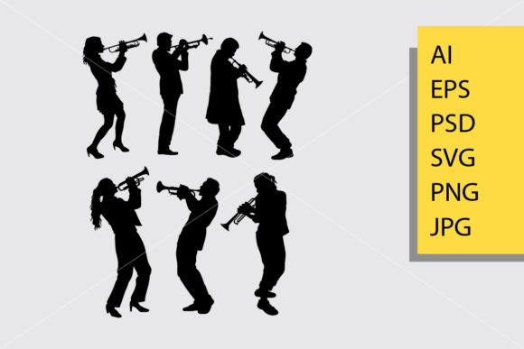 Trumpet Player Silhouette Graphic Illustrations By Cove703