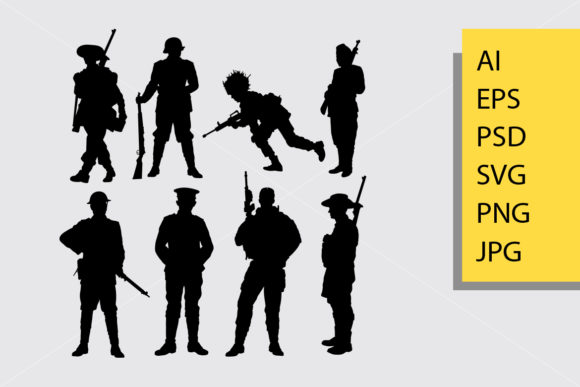 Army and Police 6 Silhouette Graphic Illustrations By Cove703