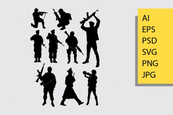 Army and Police 7 Silhouette Graphic Illustrations By Cove703