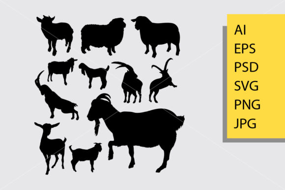 Goat and Sheep 1 Animal Silhouette Graphic Illustrations By Cove703