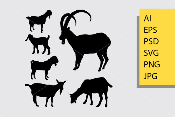 Goat and Sheep 2 Animal Silhouette Graphic Illustrations By Cove703