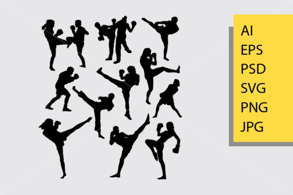 Kick Boxing Sport Silhouette Graphic Illustrations By Cove703