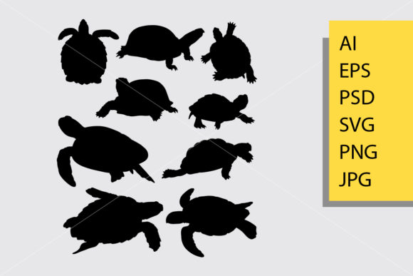 Turtle Animal Silhouette Graphic Illustrations By Cove703