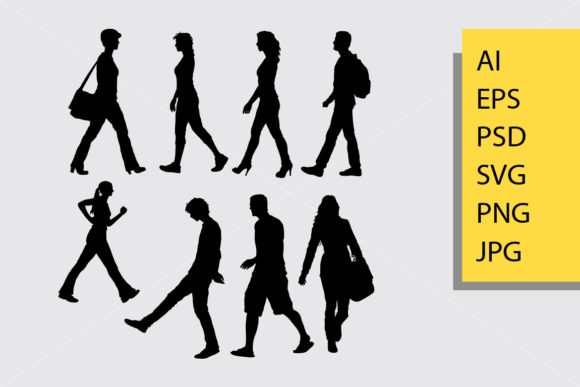 Male and Female Walking Silhouette Graphic By Cove703
