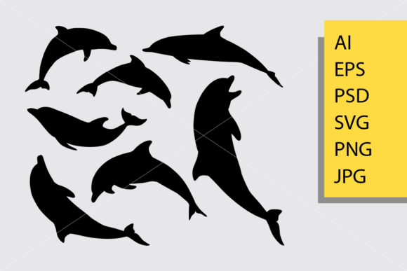 Download Free Dolphin Animal Silhouette Graphic By Cove703 Creative Fabrica for Cricut Explore, Silhouette and other cutting machines.